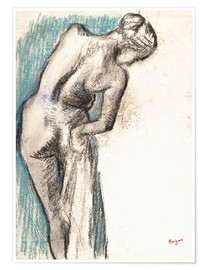 Premiumposter  Bather Drying Herself - Edgar Degas