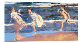 Akrylglastavla  Running Along the Beach - Joaquin Sorolla y Bastida