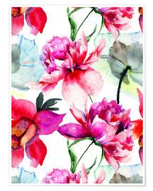 Premiumposter  Poppies and peonies