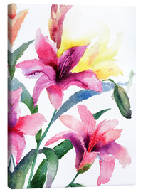 Canvastavla  Lilies in pink