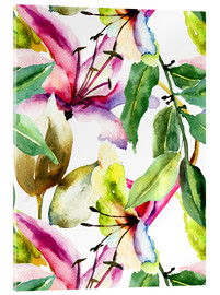 Akrylglastavla  Lilies in watercolor