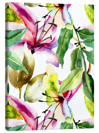 Canvastavla  Lilies in watercolor