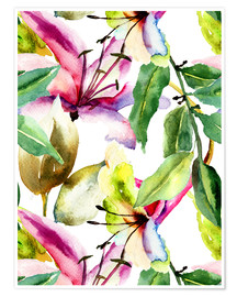 Premiumposter Lilies in watercolor