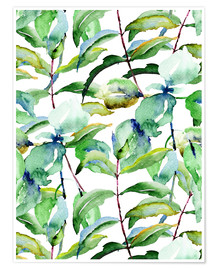 Premiumposter Leaves in watercolor