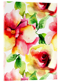 Akrylglastavla  Watercolor painting with rose petals