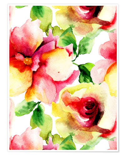 Premiumposter Watercolor painting with rose petals