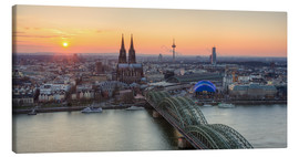 Canvastavla  Panorama view of Cologne at sunset - Michael Valjak
