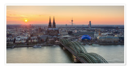 Premiumposter Panorama view of Cologne at sunset
