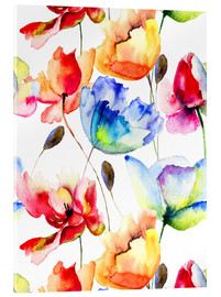 Akrylglastavla  Poppies and tulips in watercolor