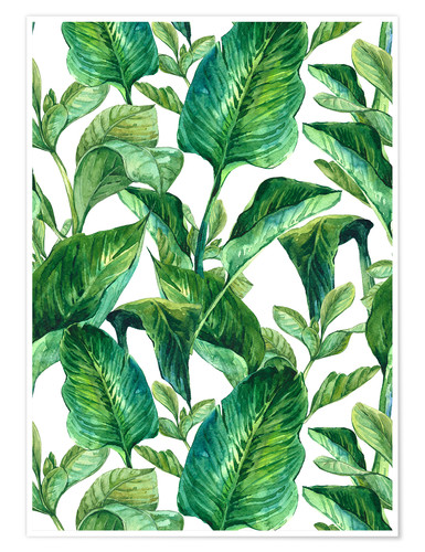 Poster Tropical Leaves in Watercolor