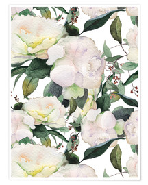 Poster White peonies in watercolor