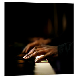 Akrylglastavla  Close-up of a pianist's hands playing the piano - Johan Swanepoel