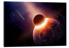 Akrylglastavla  Planet earth destroyed in collision with asteroid - Johan Swanepoel