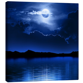 Canvastavla  Fantasy moon and clouds over water - Johan Swanepoel