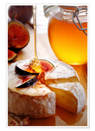 Poster Brie Cheese and Figs with honey