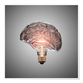 Poster  Conceptual light bulb brain illustrated - Johan Swanepoel