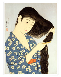 Premiumposter Young woman combing her hair