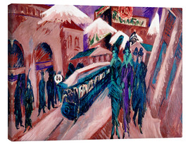 Canvastavla  Leipziger Strasse with electric train - Ernst Ludwig Kirchner