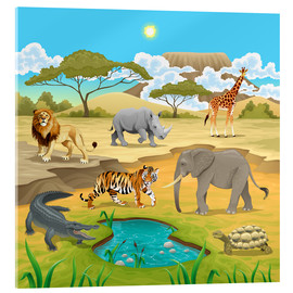 Akrylglastavla  African animals in a savannah - Kidz Collection