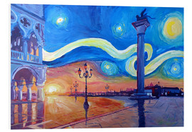 PVC-tavla  Starry Night in Venice Italy San Marco with Lion - M. Bleichner