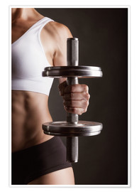 Premiumposter  Sportswoman with dumbbell