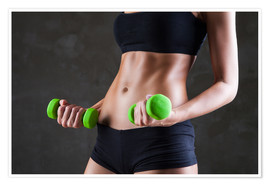 Premiumposter  Sportswoman with dumbbells