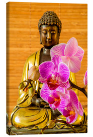 Canvastavla  Buddha with orchid