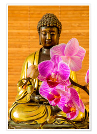Premiumposter  Buddha with orchid