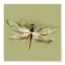 Premiumposter  Dragonfly in watercolor