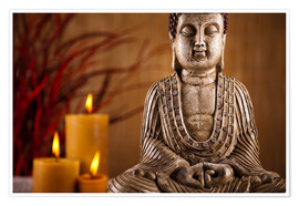 Premiumposter Buddha statue with candles
