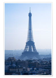 Premiumposter Eiffel Tower on blue spring morning