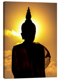 Canvastavla  Silhouette of Buddha in the temple