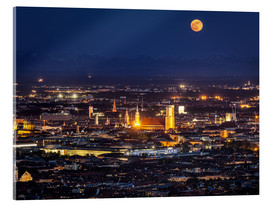 Akrylglastavla  Munich Skyline with yellow full moon