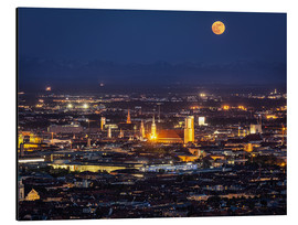 Aluminiumtavla  Munich Skyline with yellow full moon