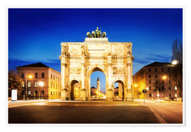 Premiumposter  Victory Arch in Munich at night