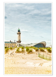 Premiumposter  Old lighthouse and Teepott building at Warnemünde
