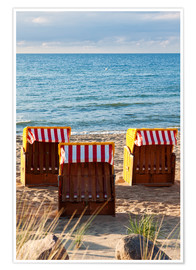 Premiumposter  Three beach chairs at the baltic sea