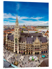 Akrylglastavla  Aerial view on the Marienplatz in Munich