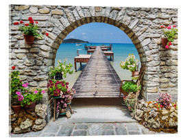 Akrylglastavla  Ocean view through a stone arch