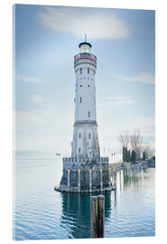 Akrylglastavla  beautiful lighthouse at Lindau