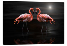 Canvastavla  Flamingos at night - Heike Langenkamp