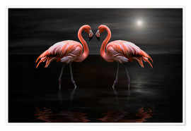 Premiumposter  Flamingos at night - Heike Langenkamp