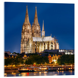 Akrylglastavla  Night view of Cologne Cathedral