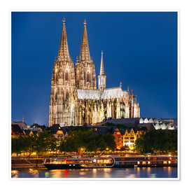 Premiumposter  Night view of Cologne Cathedral