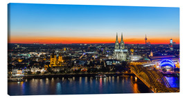 Canvastavla  Colorful Cologne skyline at night