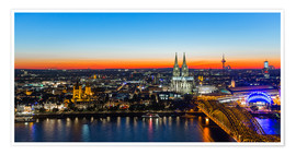 Premiumposter  Colorful Cologne skyline at night
