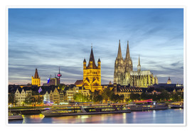 Premiumposter  Overlooking the historic center of Cologne