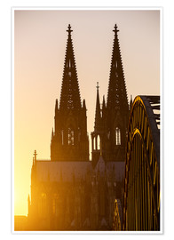 Premiumposter  Sunset behind the Cologne Cathedral