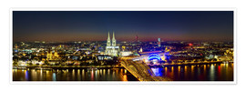 Premiumposter  A panoramic view of cologne at night