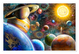 Premiumposter  Planets in Space and Europe - Adrian Chesterman